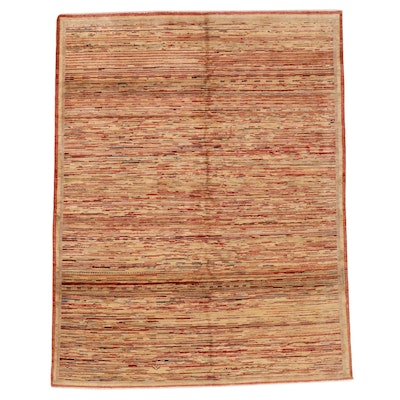 6'2 x 7'9 Hand-Knotted Afghan Gabbeh Wool Area Rug