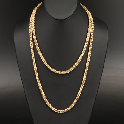 18K Textured Wheat Chain Necklace