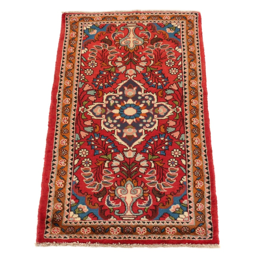 2'6 x 4'1 Hand-Knotted Persian Lilihan Rug, 1980s