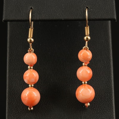 14K Graduated Coral Dangle Earrings