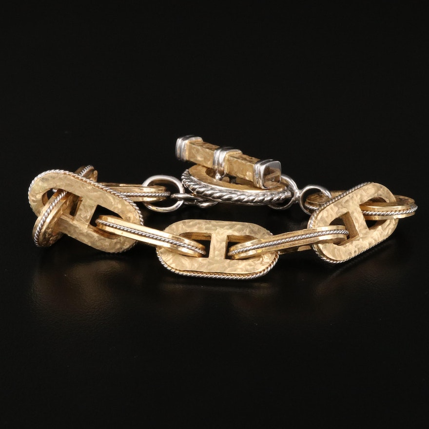 Italian 14K Two-Tone Anchor Chain Bracelet with Textured Matte Finish