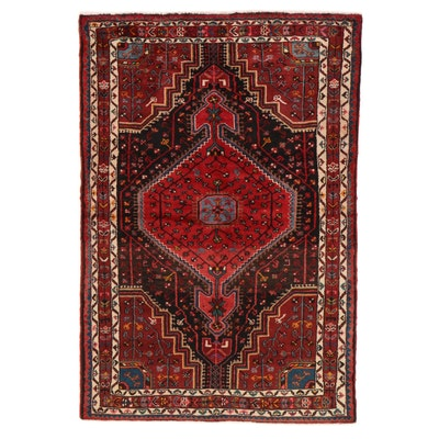 4'3 x 6'4 Hand-Knotted Persian Malayer Rug, 1960s