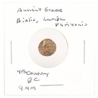 Ancient Greek AE9 Bronze Coin of Aeolis, Larissa Phrikonis, ca. 4th Century BC