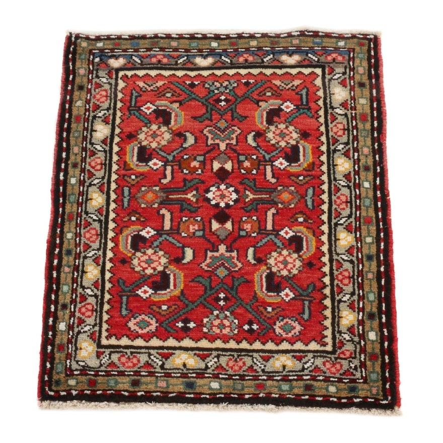 2'2 x 2'7 Hand-Knotted Persian Zanjan Rug, 1970s