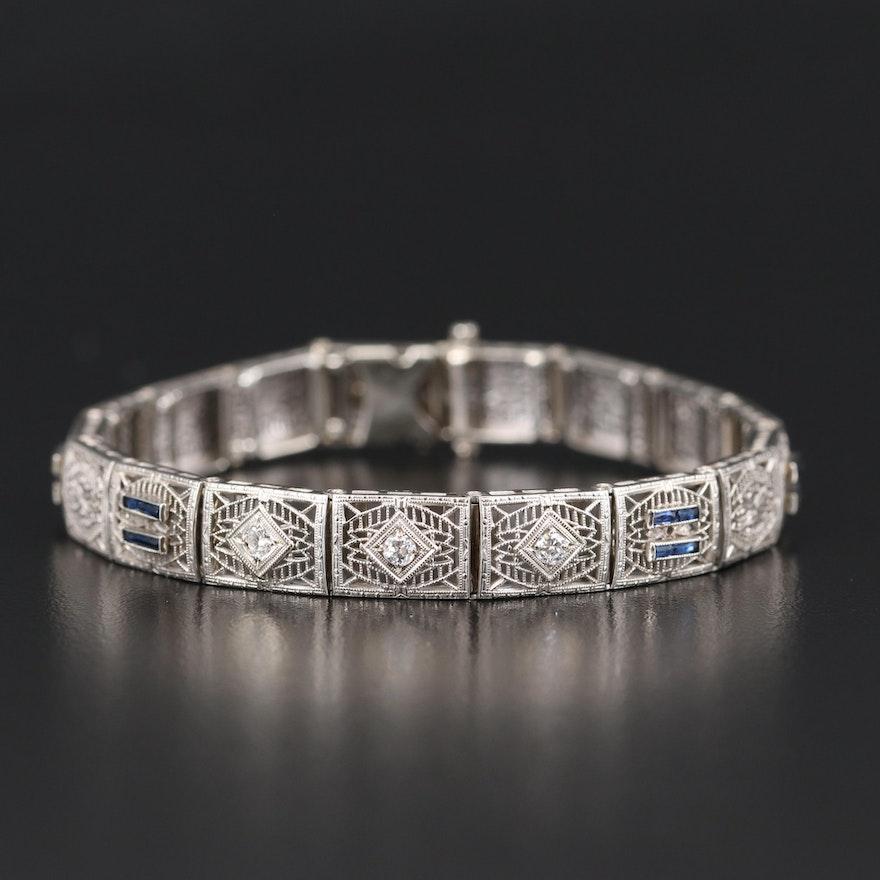 Art Deco 10K Diamond and Sapphire Filigree Bracelet