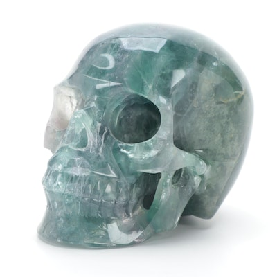 Polished Carved Green Fluorite Skull