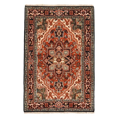 4'1 x 6'3 Hand-Knotted Indo-Persian Heriz Rug, 2010s