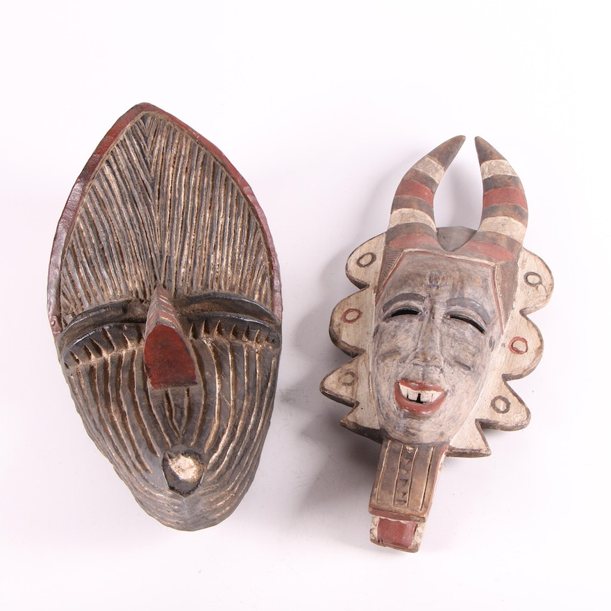 West and Central African Style Polychrome Wood Masks