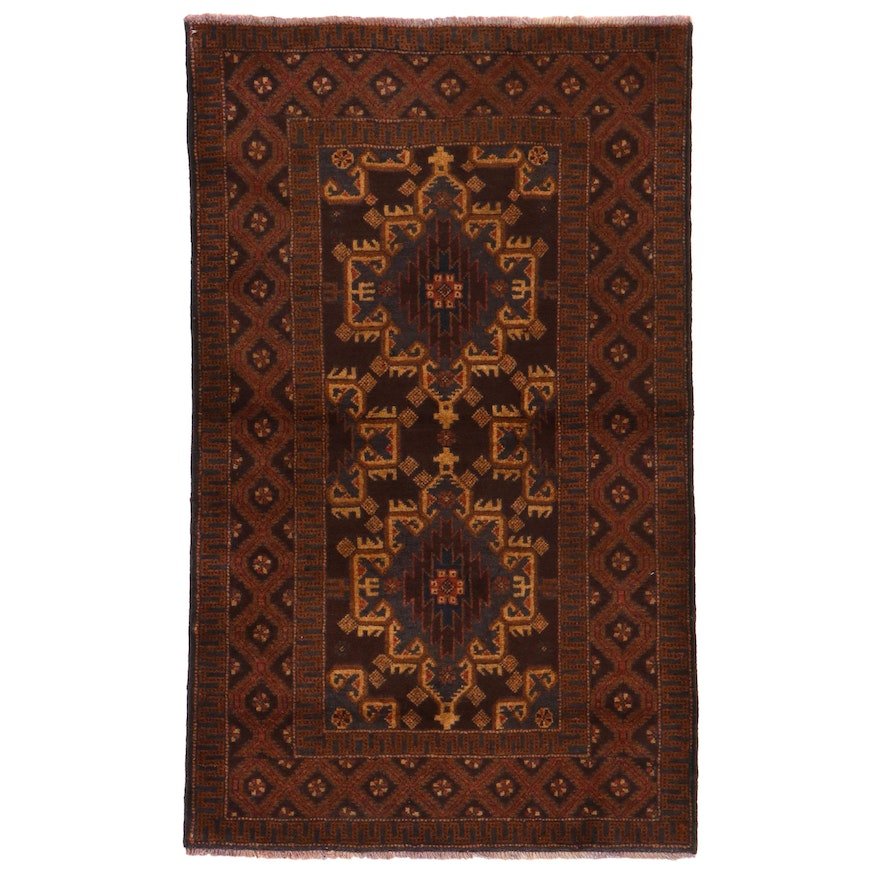 2'11 x 4'10 Hand-Knotted Afghan Baluch Rug, 2000s