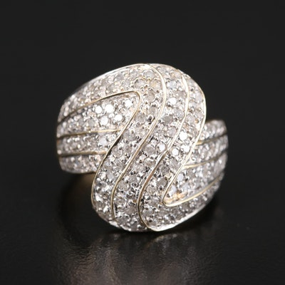 10K 1.00 CTW Diamond Wave Ring