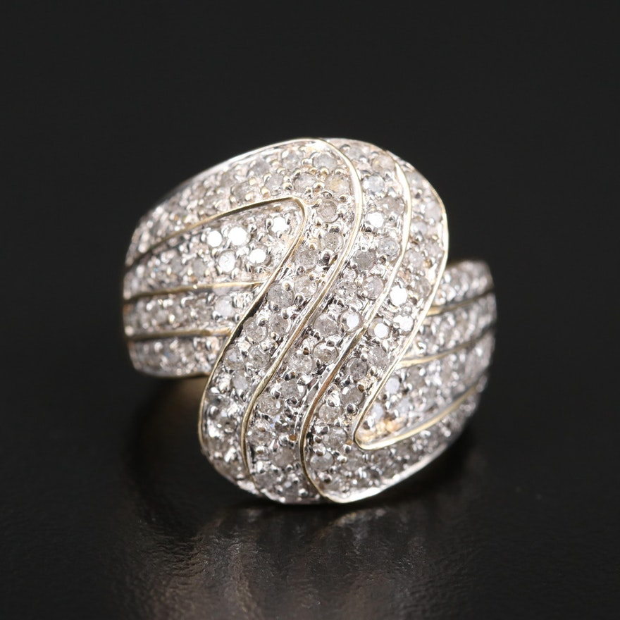 10K 1.00 CTW Diamond Wave Ring