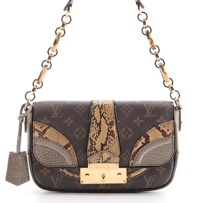Louis Vuitton Monogramissime Pochette Handbag in Coated Canvas and Exotics