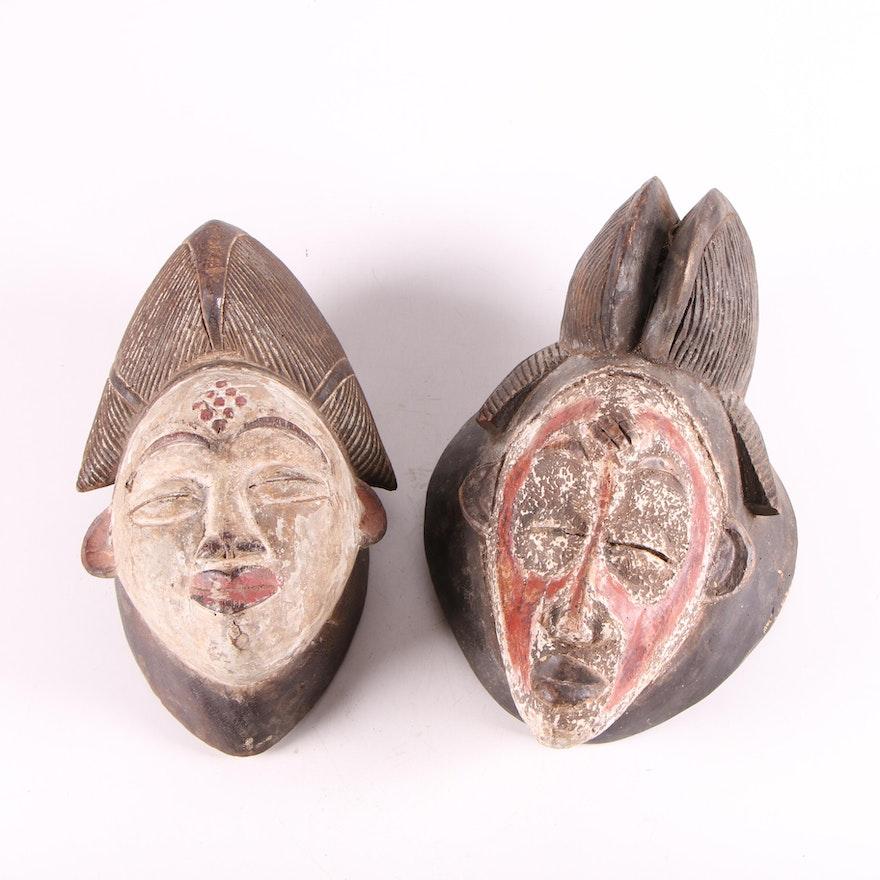 Punu Inspired Wood Masks, Central Africa