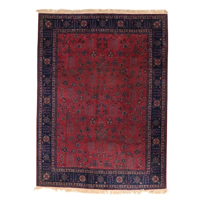 8'9 x 12'4 Hand-Knotted Turkish Oushak Village Room Sized Rug, 1920s