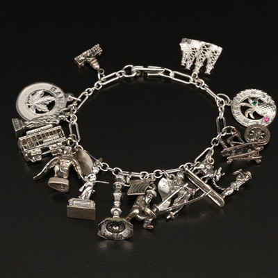 Sterling Charm Bracelet Featuring Statue of Liberty and Capital Building