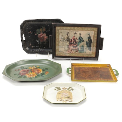 Georges Briard Hand Painted Tray with Other Trays, Mid-20th Century
