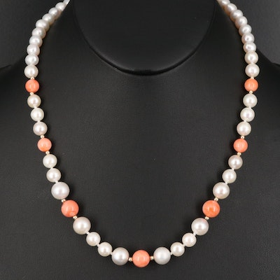 14K Pearl and Coral Necklace