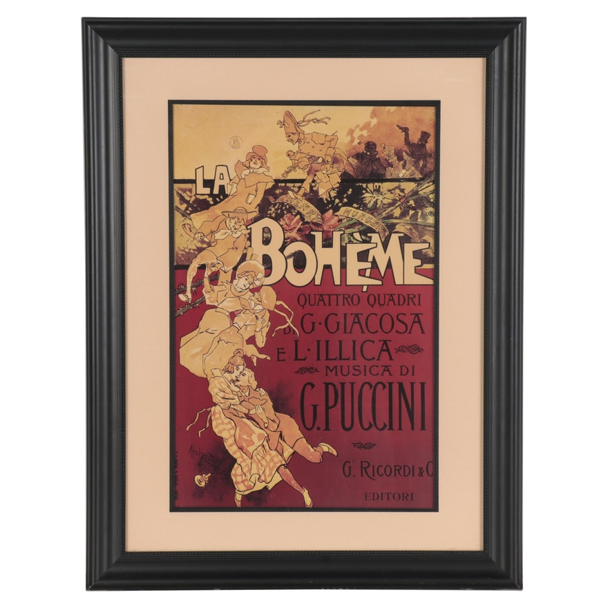 """Offset Lithograph after Adolfo Hohenstein """"La Bohème,"""" Late 20th Century"""