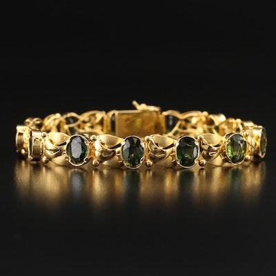 18K Green Sapphire Bracelet