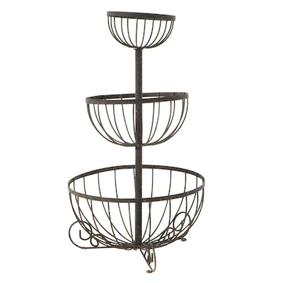 Wrought Iron Tiered Planter Stand