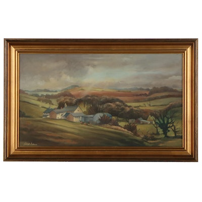 William George Dolman Oil Painting of Rolling Hills, Late 20th Century