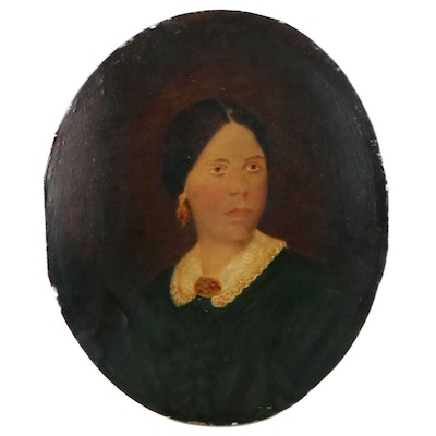 Portrait Oil Painting of a Lady, Mid to Late 19th Century