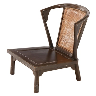 Chinese Style Wood and Cane Low Chair, Mid-20th Century
