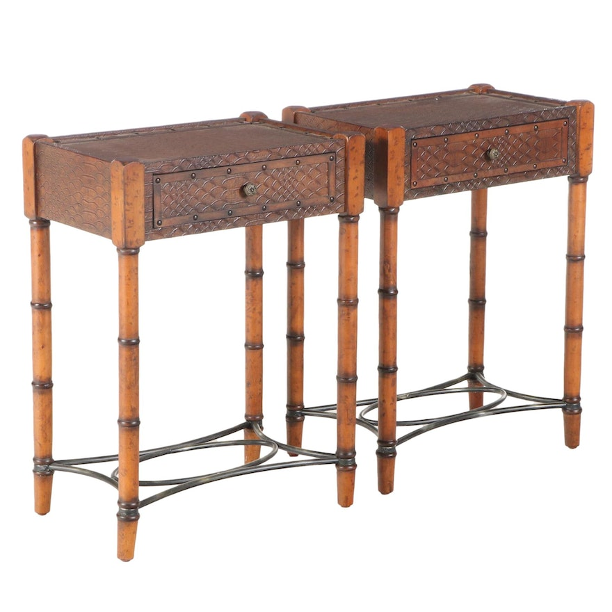 Pair of Faux Alligator End and Faux-Carved Bamboo Side Tables