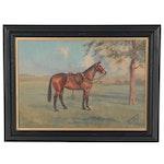 Gilbert Acheson Cattley Oil Painting of Quarter Horse, 1930