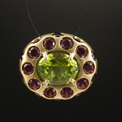 14K Peridot and Rhodolite Garnet Pendant with Matte Finish