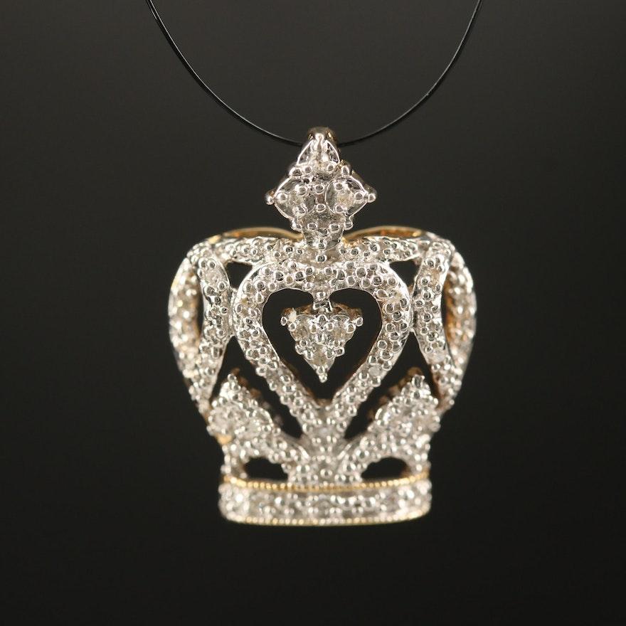 10K Diamond Crown Pendant