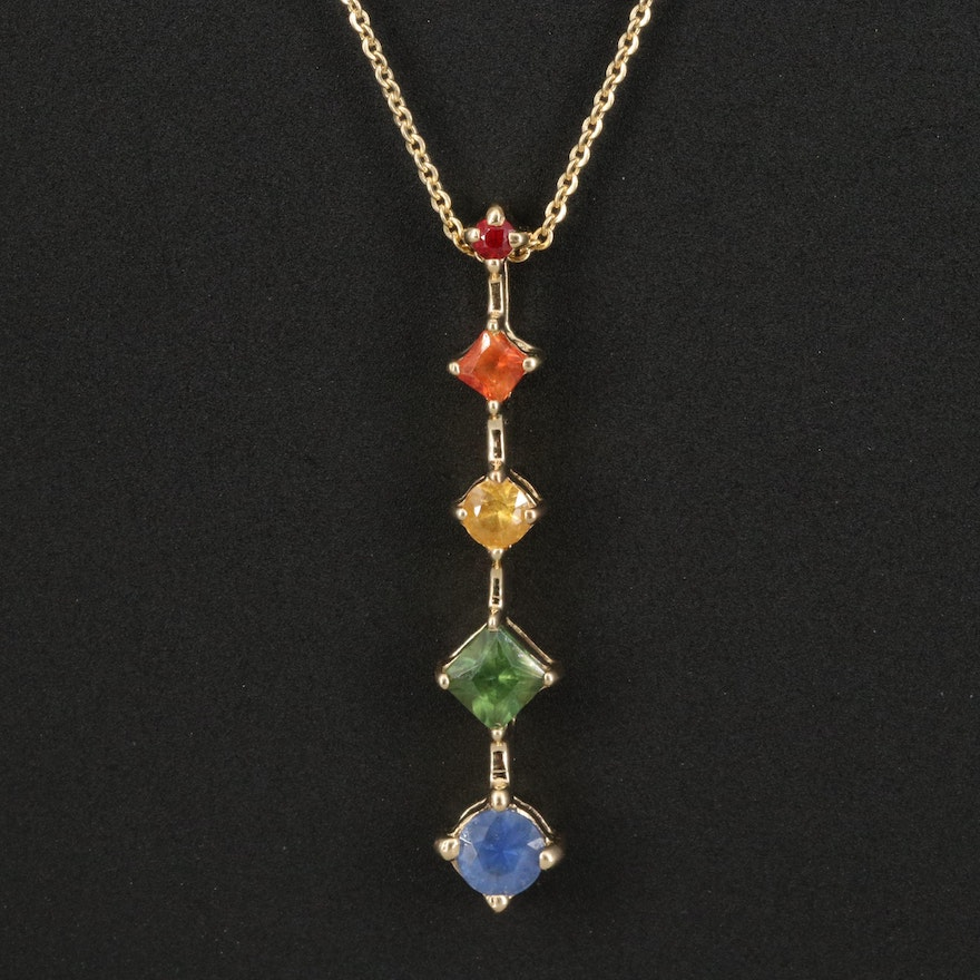 14K Multicolored Sapphire Tiered Pendant Necklace