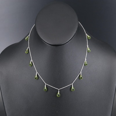 14K Peridot Fringe Station Necklace