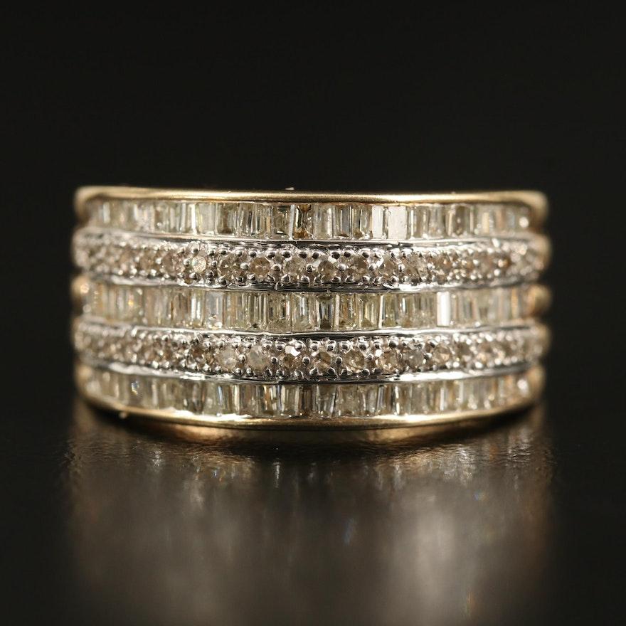 10K 1.45 CTW Diamond Multi-Row Band