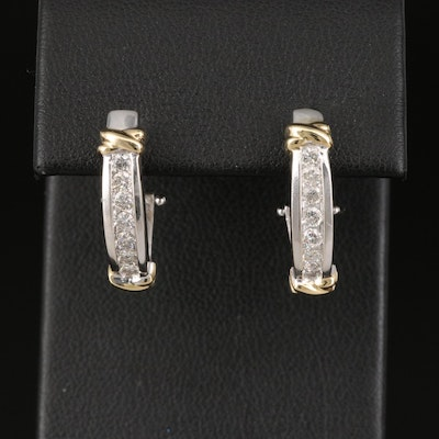 14K Channel Set Diamond J Hoop Earrings