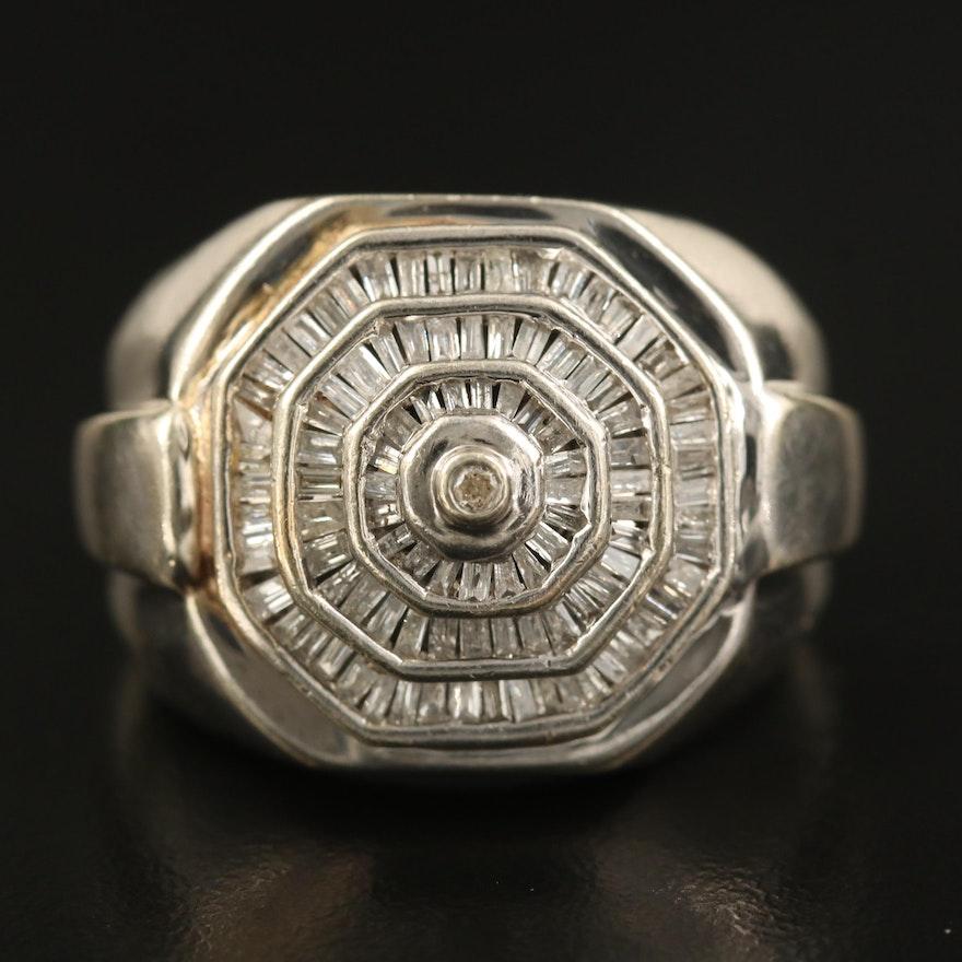 10K 1.00 CTW Diamond Octagonal Halo Ring