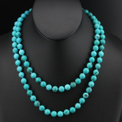 Magnesite Beaded Necklace with Sterling Clasp