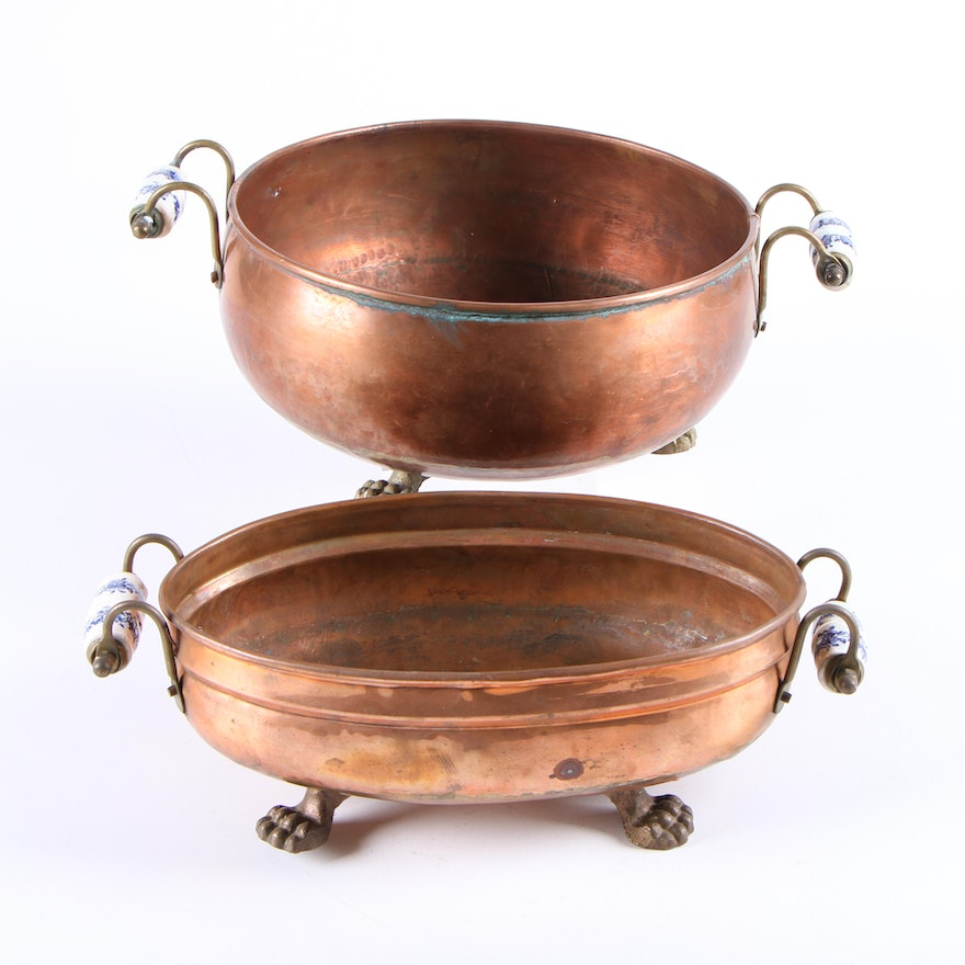 Copper Round and Oval Jardinieres with Ceramic Handles, Mid to Late 20th Century