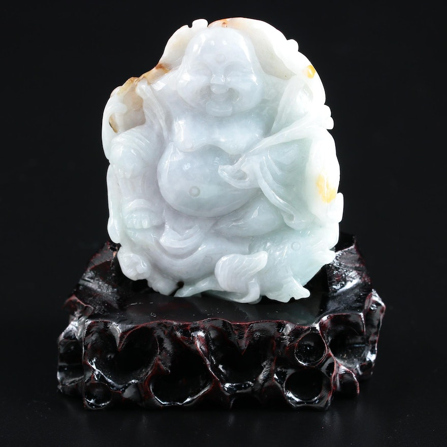 Chinese Carved Jadeite Budai and Lotus Flower Figurine with Wood Base