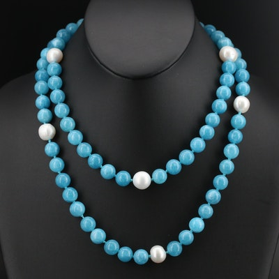 Pearl and Quartz Beaded Necklace with Sterling Clasp