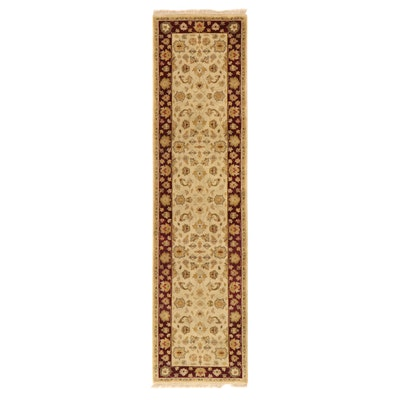 2'7 x 10'2 Hand-Knotted Indo-Persian Kashan Carpet Runner, 2000s
