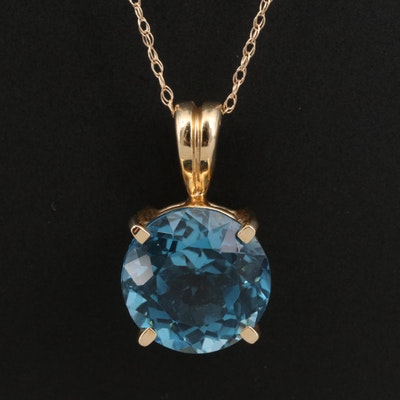 14K Topaz Pendant Necklace