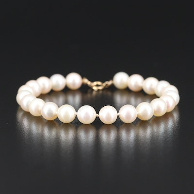 Semi-Baroque Pearl Bracelet with 14K Clasp