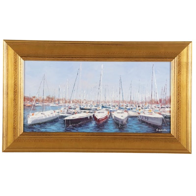 "Sean Wu Oil Painting ""Sailboats at Harbor,"" 2021"