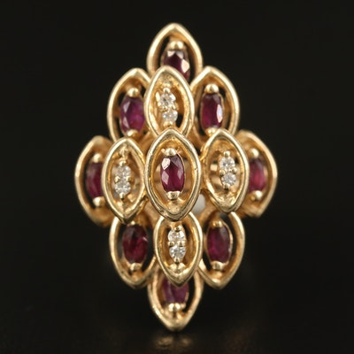 1970s 14K Ruby and Diamond Tiered Ring