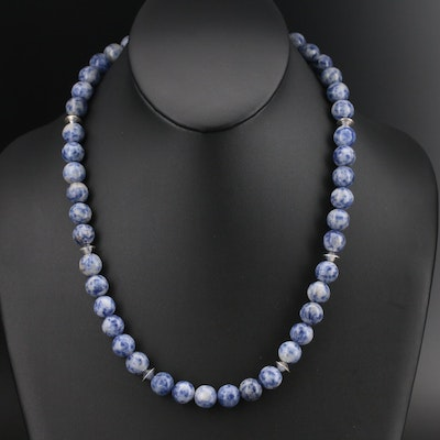 Sterling Sodalite Beaded Necklace
