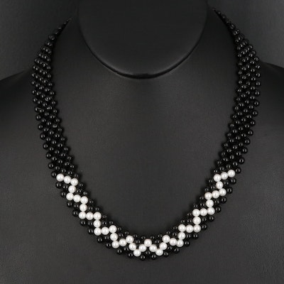 Pearl and Black Coral Woven Necklace with 14K Clasp