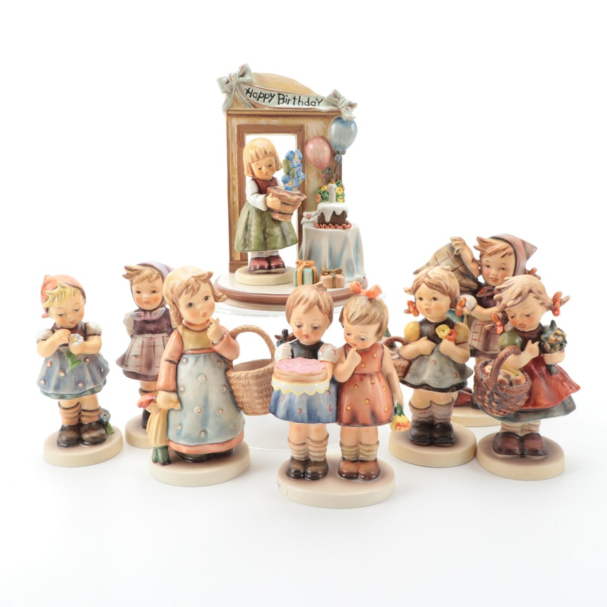 "Goebel Hummel ""Birthday Treats"" Hummelscape and Other Porcelain Figurines"