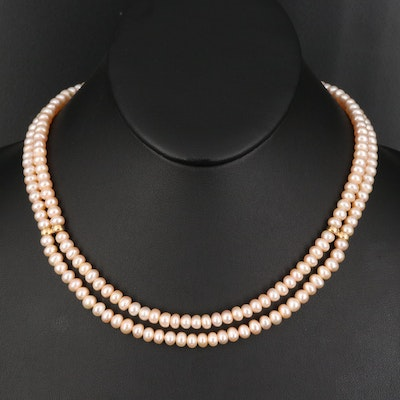 Pearl Double Strand Necklace with 14K Closure