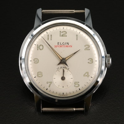 "Vintage Elgin ""Sportsman"" Stem Wind Wristwatch"